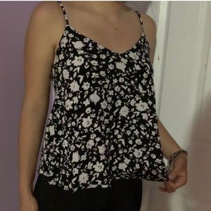 black and white floral flowy top